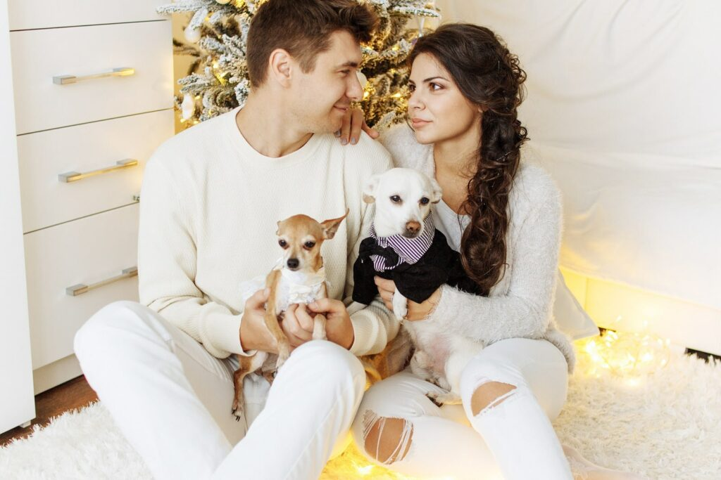 Couple with dogs together