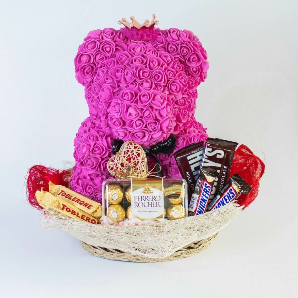 rose bear gift basket - best valentine gift for girlfriend