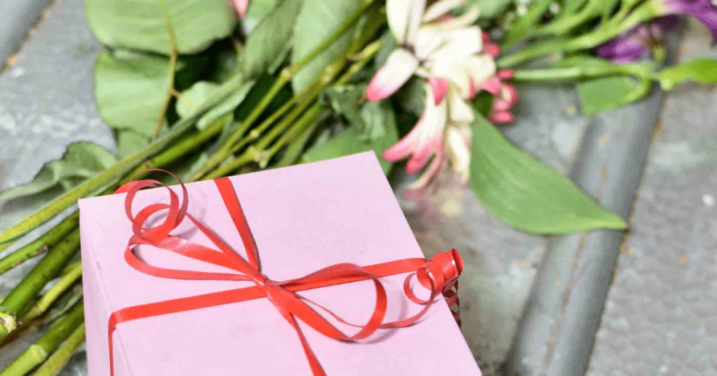 a gift box with flowers